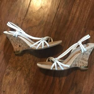 Enzo Angiolini White Strappy Cork Sandals Wedges